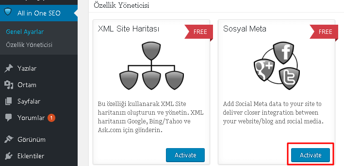 All in One Seo Sosyal Medya Modülü