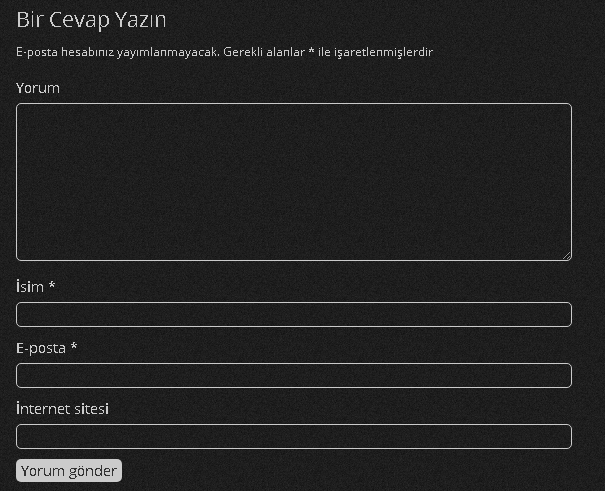 Wordpress Yorum Formu