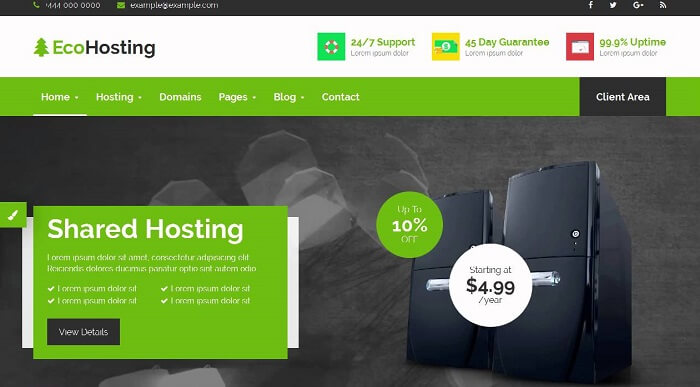 EcoHosting Hosting and WHMCS WordPress Theme